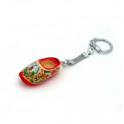 KEYRING WOODEN CLOGGIE RED SOLE 4 CM