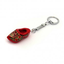 KEYRING WOODEN CLOGGIE RED GOLD 4 CM