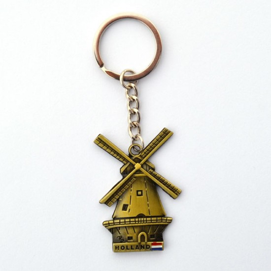 KEYCHAIN WINDMILL HOLLAND FLAG BRASS COLORED