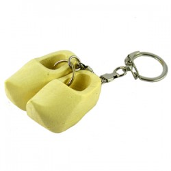 KEYCHAIN PAIR WOODEN CLOGGIES NATURAL 4 CM