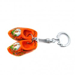 KEYRING PAIR WOODEN CLOGGIES ORANGE 4 CM