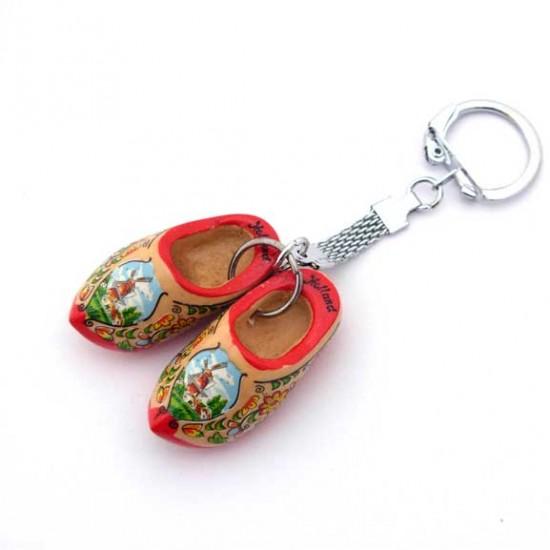 Keychain pair wooden cloggies red sole 4 cm