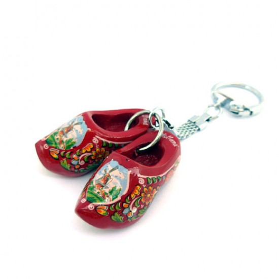 KEYRING PAIR WOODEN CLOGGIES RED 4 CM