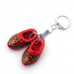 KEYCHAIN PAIR WOODEN SHOES RED GOLD 4 CM
