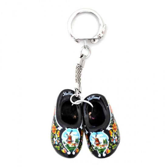 Key ring pair wooden shoes black 4 cm
