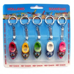 KEYCHAIN SET 5 PCS WOODEN SHOES 4 CM