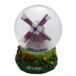 SNOW  WATER GLOBE HOLLAND WINDMILL 11 CM