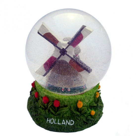 SNOW  WATER GLOBE HOLLAND WINDMILL 11 CM