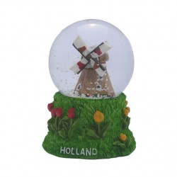 SNOW  WATER GLOBE HOLLAND WINDMILL 4.5 CM
