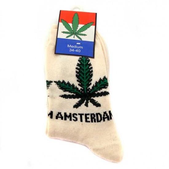 Socks amsterdam weed ecru