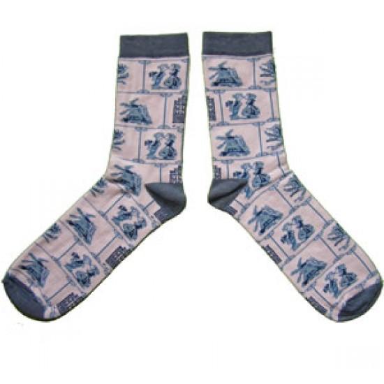 Socken / strümfe delfter blau fliesen motiv