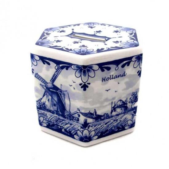 MONEY-BOX DELFT BLUE HEXAGON