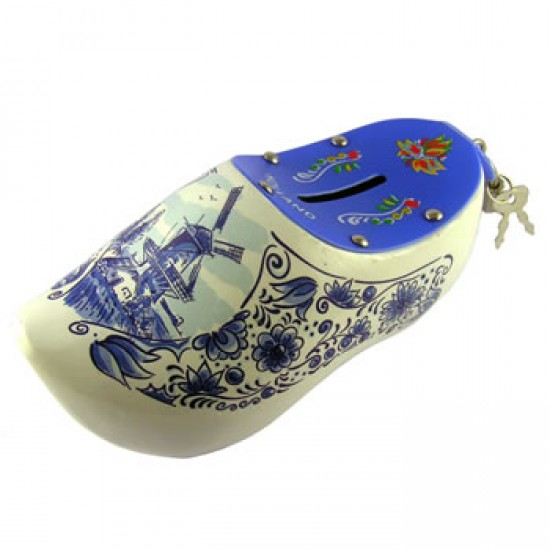 WOODEN SHOE BANK DELFT BLUE WITH LOCKER