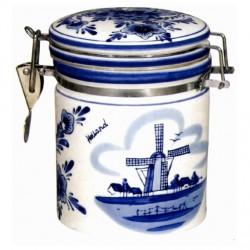SYRUP WAFFER JAR DELFT BLUE WINDMILL FLOWERS 14 CM