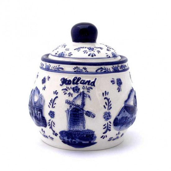 SUGAR POT HOLLAND DELFT BLUE RELIEF
