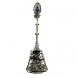 SUGAR / HEBAL SPOON SILVER PLATED DELFT BLUE WINDMILL HOLLAND