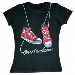 T-SHIRT AMSTERDAM RED SHOES BLACK LADYFIT