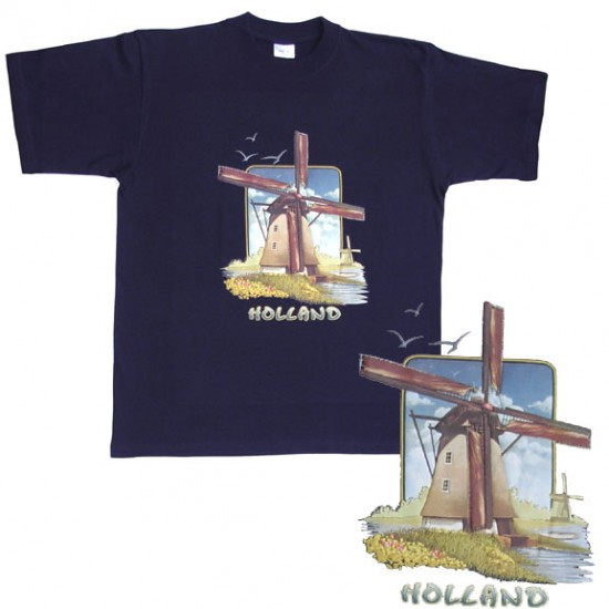 T-shirt windmill holland navy blue