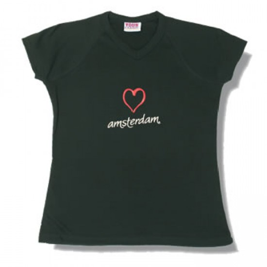 T-SHIRT BLACK LADYFIT HEART AMSTERDAM
