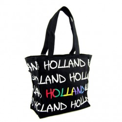 BAG CANVAS HOLLAND BLACK RAINBOW MEDIUM