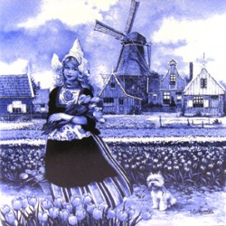 TILE FARMER`S WIFE 10 x 10 cm BLUE