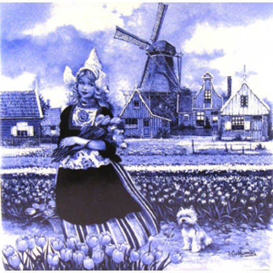 TILE FARMER`S WIFE 10 x 10 cm BLUE