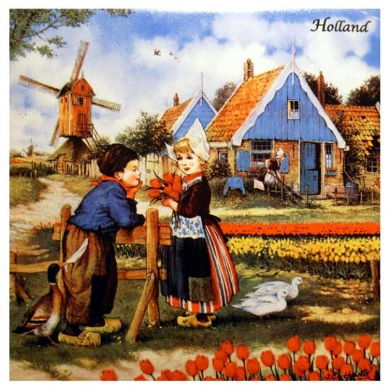 Kachel hunnik meisje mit tulpe 15 x 15 cm