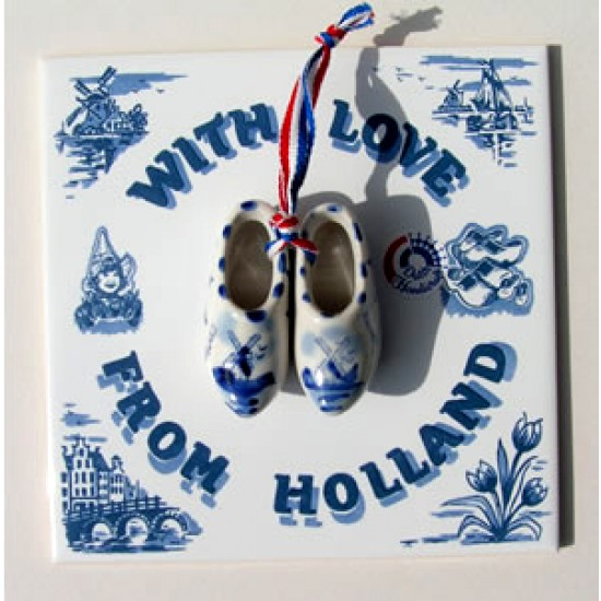 Tile with love from holland with cloggies 15 x 15 cm