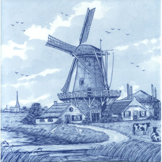 TILE DELFT BLUE PRINT WINDMILL FARM COWS