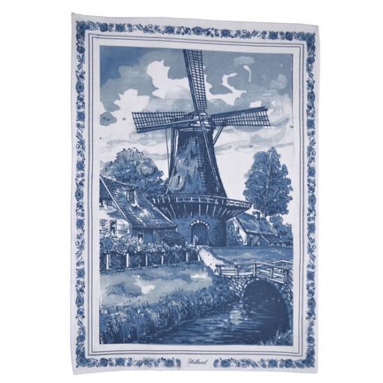 Theedoek delfts blauw molen landschap bloemenrand