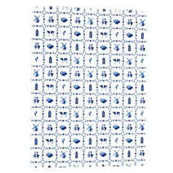 DISH TOWEL DELFT BLUE SMALL TILES