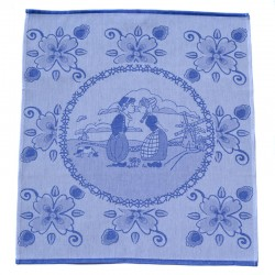 TEA TOWEL DELFT BLUE KISSING COUPLE FLOWERS