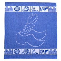 TEA TOWEL CLOG TULIP BLUE