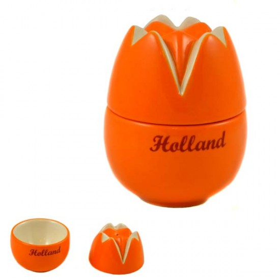 TULIP EGG CUP SALT SHAKER SET ORANGE