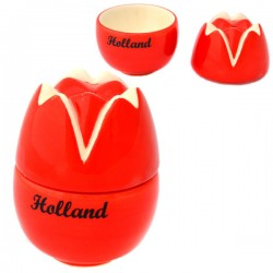 TULIP EGG CUP SALT SHAKER SET RED