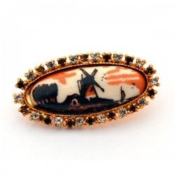 GOLD PLATED BROOCH POLYCHROME STONE RHINESTONES