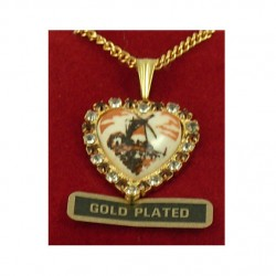 Gold plated necklace heart brown delft stone 21 mm