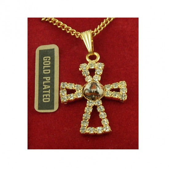 Gold plated necklace delft brown windmill rhinestone