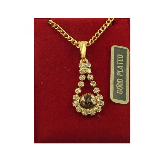 Gold plated chain Delft windmill brown pear rhinestone