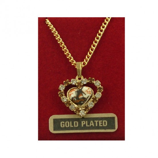 Gold-plated necklace with mill in rhinestone heart