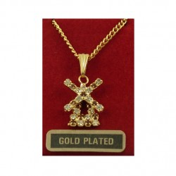 Gold-plated necklace mill rhinestone