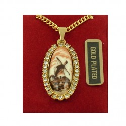 Gold plated necklace oval Delft brown windmill