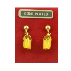 Gold plated earrings studs - yellow cloggie 15 mm