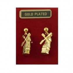 Gold plated earrings studs - windmill blade rotating 20 mm