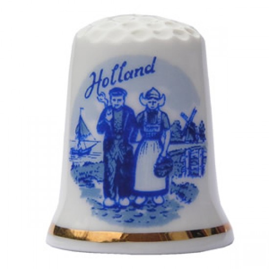 THIMBLE FARMER AND HIS WIFE HOLLAND DELFT BLUE