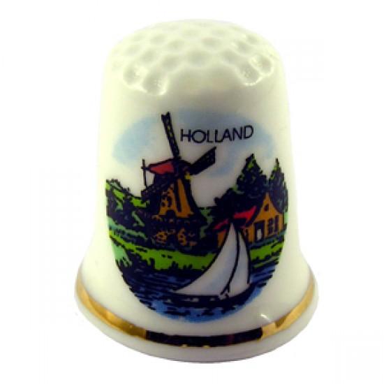 THIMBLE HOLLAND WINDMILL SAILBOAT COLOR