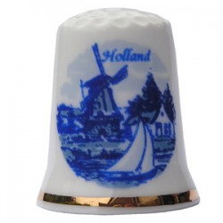 THIMBLE WINDMILL SAILBOAT HOLLAND DELFT BLUE