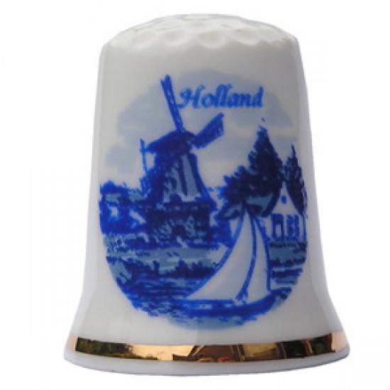 Fingerhut mühle segelboot holland delfter blau