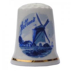 THIMBLE WINDMILL HOLLAND DELFT BLUE