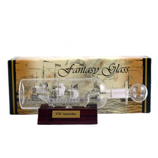 VOC SHIP AMSTERDAM IN BOTTLE FROSTED GLASS 20 CM